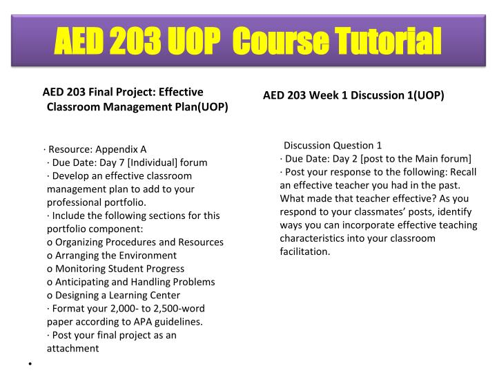 AED 203 Final Project: Effective       Classroom Management Plan(UOP)
