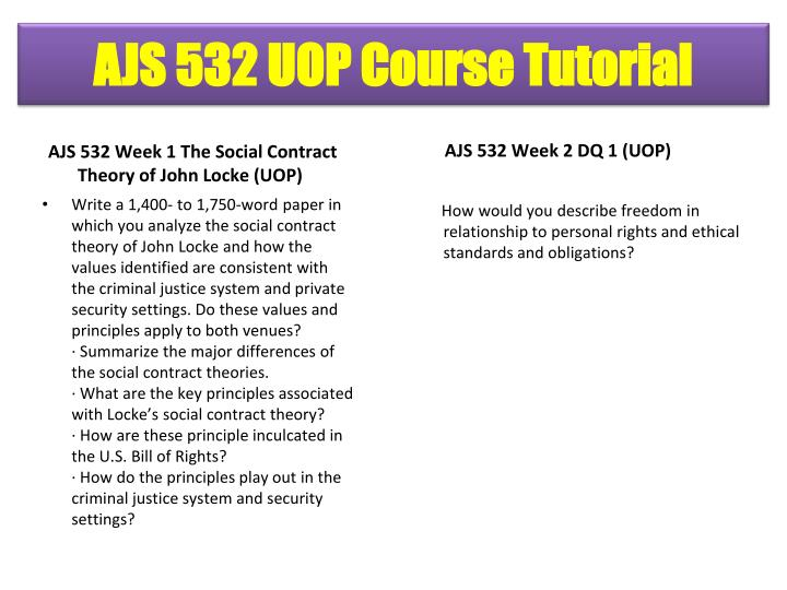 AJS 532 Week 1 The Social Contract Theory of John Locke (UOP)