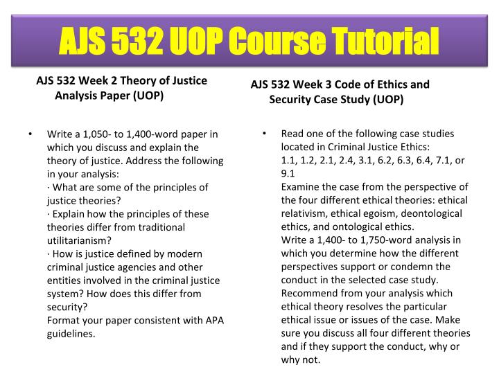 AJS 532 Week 2 Theory of Justice Analysis Paper (UOP)