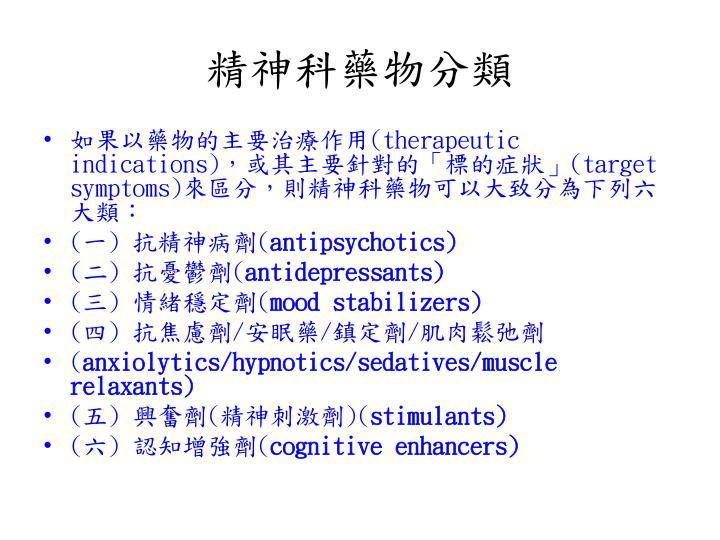 精神科藥物分類