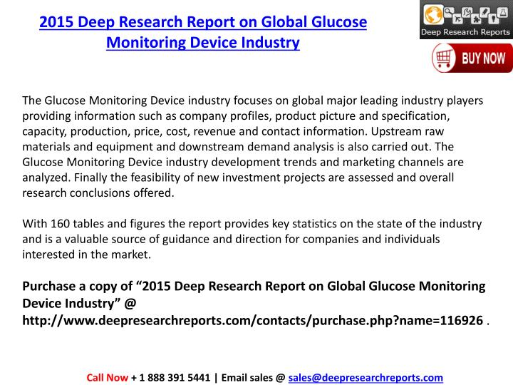 2015 Deep Research Report on Global Glucose Monitoring Device Industry