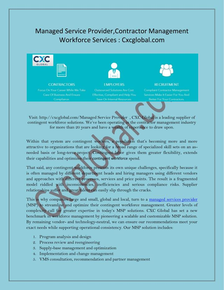 Managed Service Provider,Contractor Management