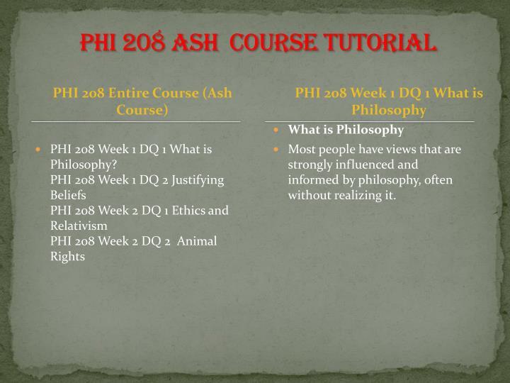 PHI 208 ASH  Course Tutorial