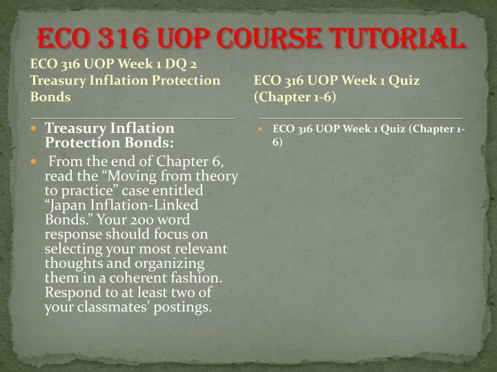 ECO 316 UOP Course