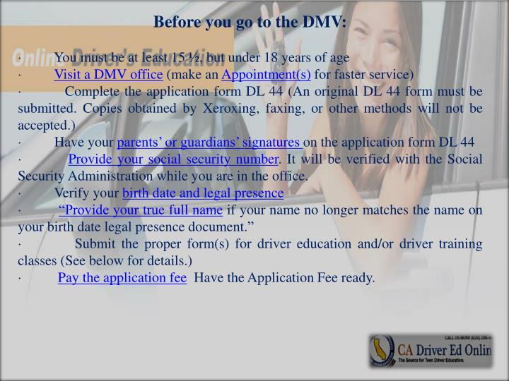 Before you go to the DMV