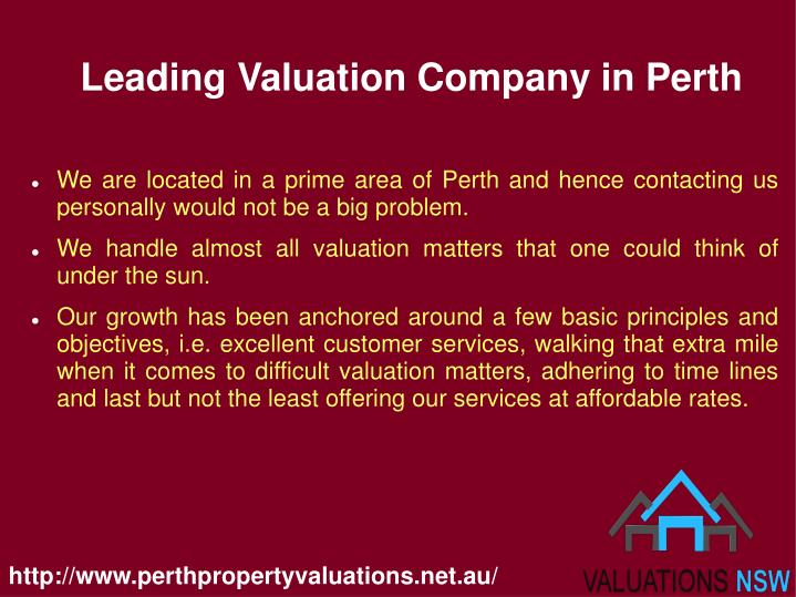 Leading valuation company in perth