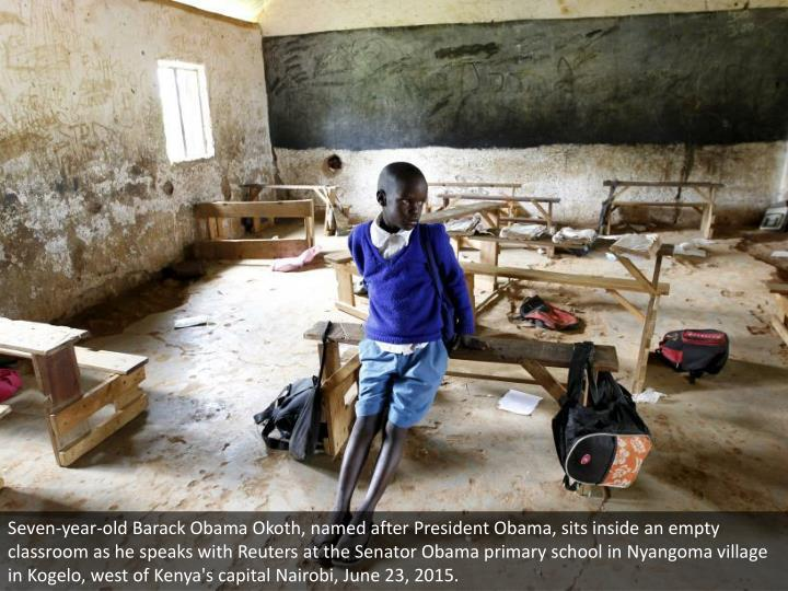 Seven-year-old Barack Obama Okoth, named after President Obama, sits inside an empty classroom as he...