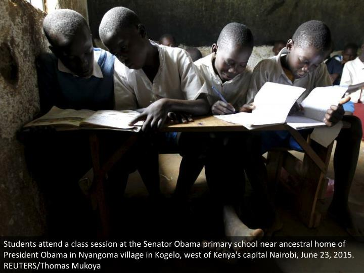 Students attend a class session at the Senator Obama primary school near ancestral home of President Obama in Nyangoma village in Kogelo, west of Kenya's capital Nairobi, June 23, 2015. REUTERS/Thomas Mukoya