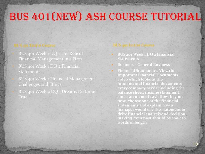 BUS 401 Entire Course