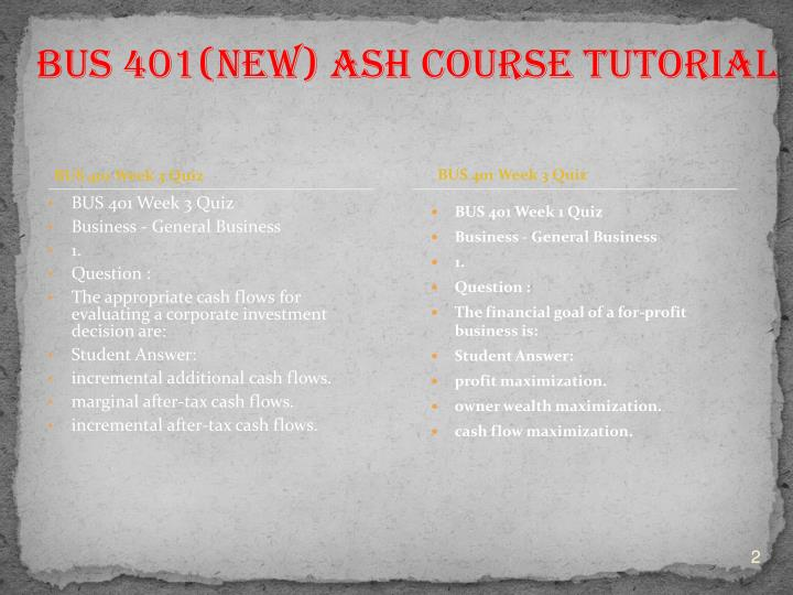 BUS 401 Week 3 Quiz