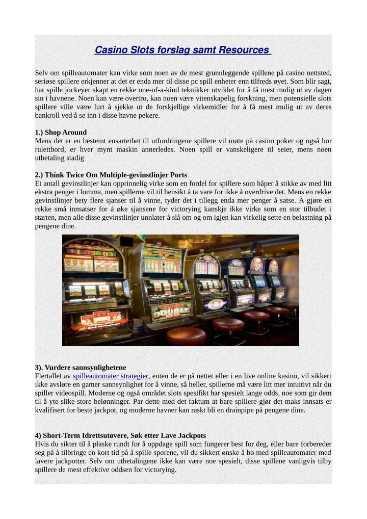 Casino Slots forslag samt Resources