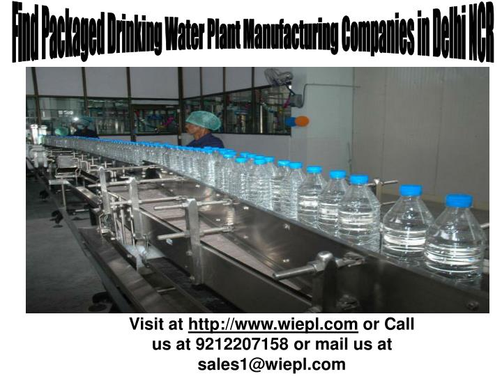 Find Packaged Drinking Water Plant Manufacturing Companies in Delhi NCR