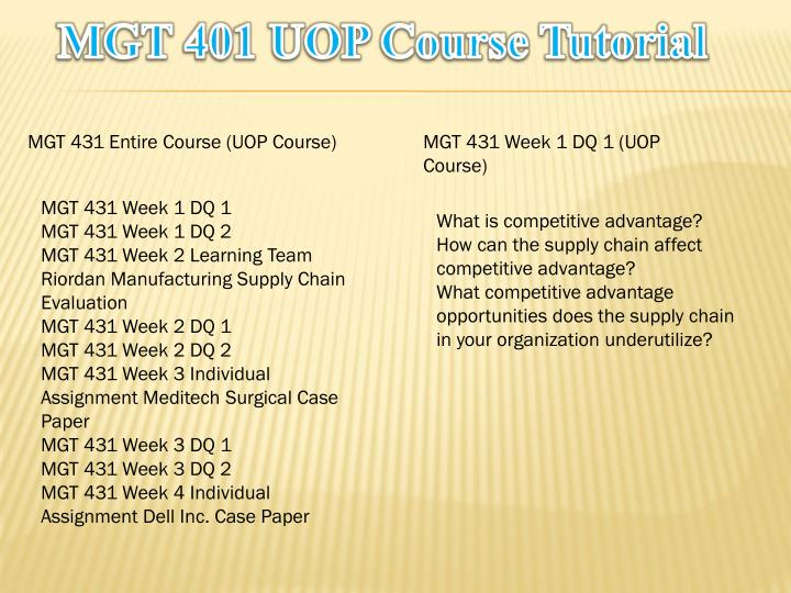 Mgt 401 uop course tutorial