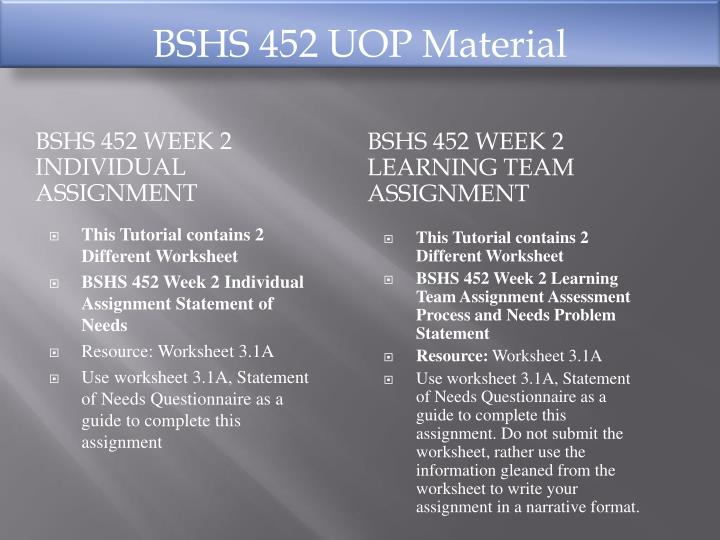 BSHS 452 UOP Material