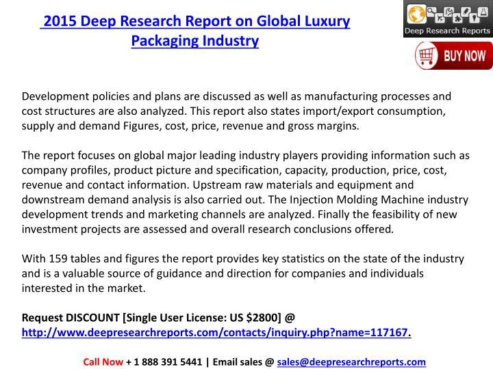 2015 Deep Research Report on Global Luxury Packaging Industry
