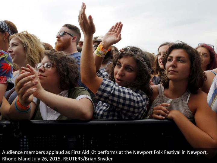 Audience members applaud as First Aid Kit performs at the Newport Folk Festival in Newport, Rhode Island July 26, 2015. REUTERS/Brian Snyder