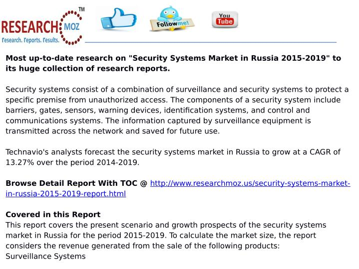 "Most up-to-date research on ""Security Systems Market in Russia 2015-2019"" to"