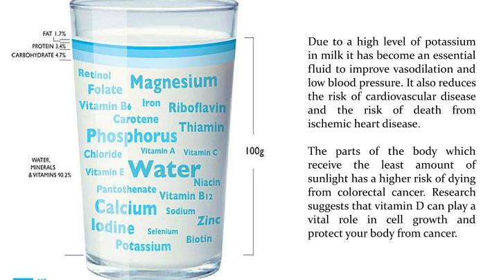 Due to a high level of potassium in milk it has become an essential fluid to improve vasodilation and low blood pressure. It also reduces the risk of cardiovascular disease and the risk of death from ischemic heart disease.