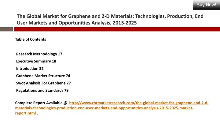 The Global Market for Graphene and 2-D Materials: Technologies, Production, End User Markets and Opp...