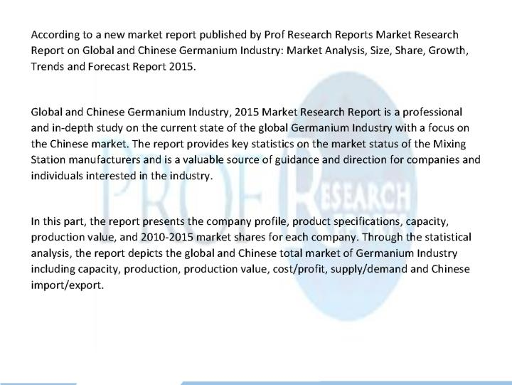 Germanium industry market for global and china 2009 2019