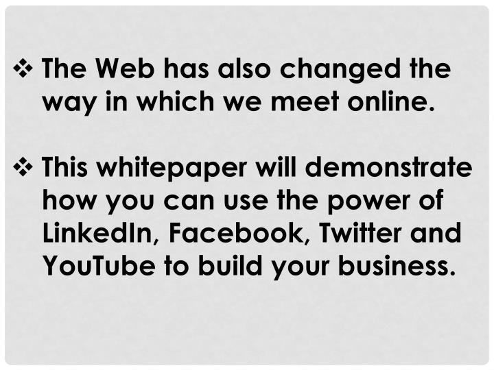 The Web has also changed the way in which we meet online.