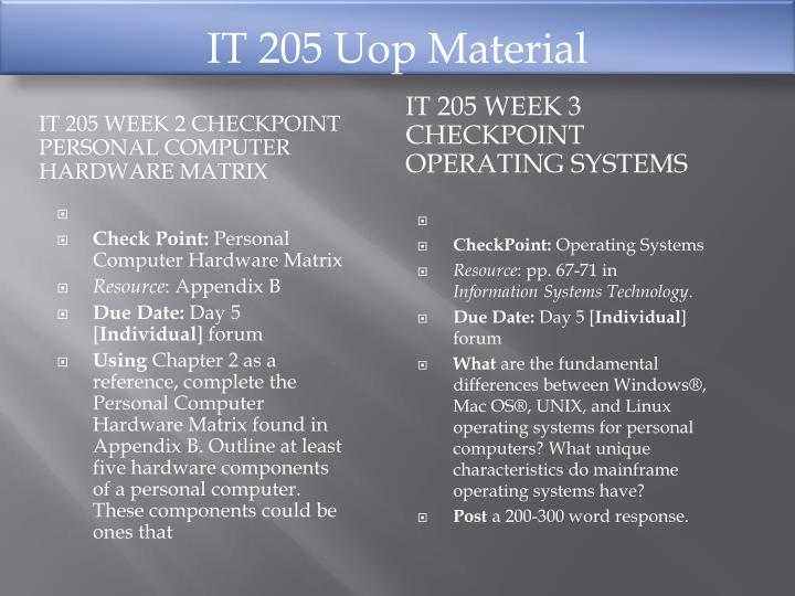 it 205 week 1 checkpoint information system