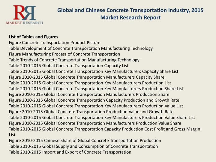 Global and Chinese Concrete Transportation Industry, 2015 Market Research Report