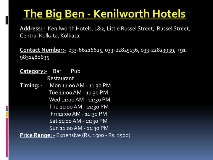The Big Ben - Kenilworth Hotels