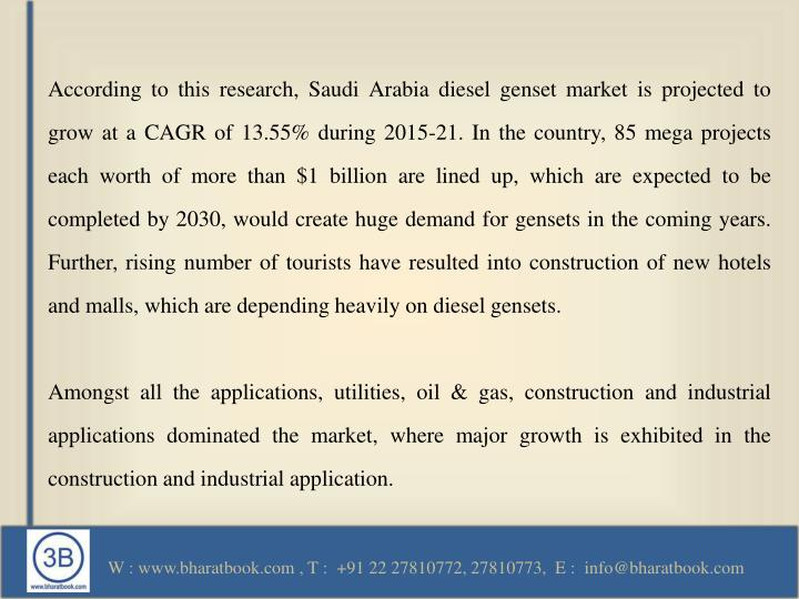 According to this research, Saudi Arabia diesel genset market is projected to grow at a CAGR of 13.55% during 2015-21. In the country, 85 mega projects each worth of more than $1 billion are lined up, which are expected to be completed by 2030, would create huge demand for gensets in the coming years. Further, rising number of tourists have resulted into construction of new hotels and malls, which are depending heavily on diesel gensets.