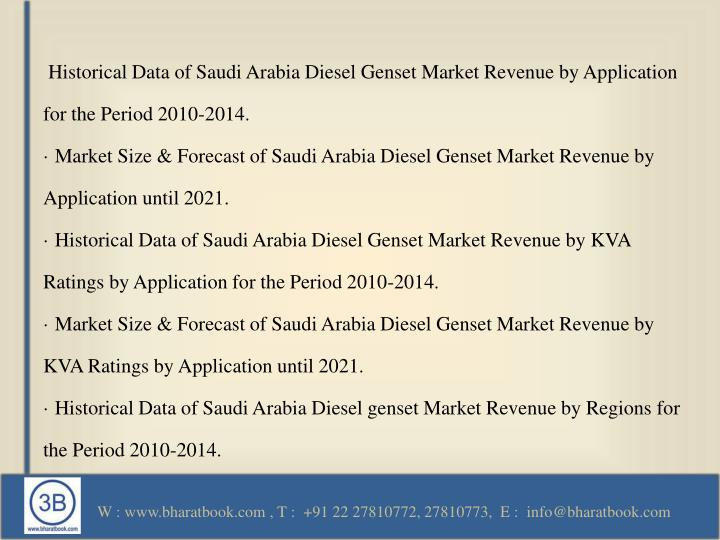 Historical Data of Saudi Arabia Diesel Genset Market Revenue by Application for the Period 2010-2014.