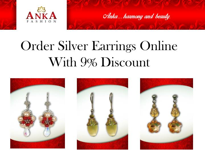 Order silver earrings online with 9 discount
