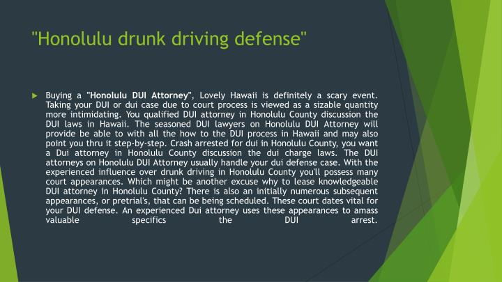 Honolulu drunk driving defense