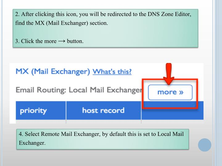 2. After clicking this icon, you will be redirected to the DNS Zone Editor, find the MX (Mail Exchan...