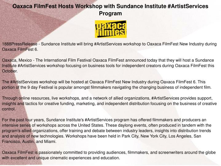 Oaxaca FilmFest Hosts Workshop with Sundance Institute #ArtistServices Program