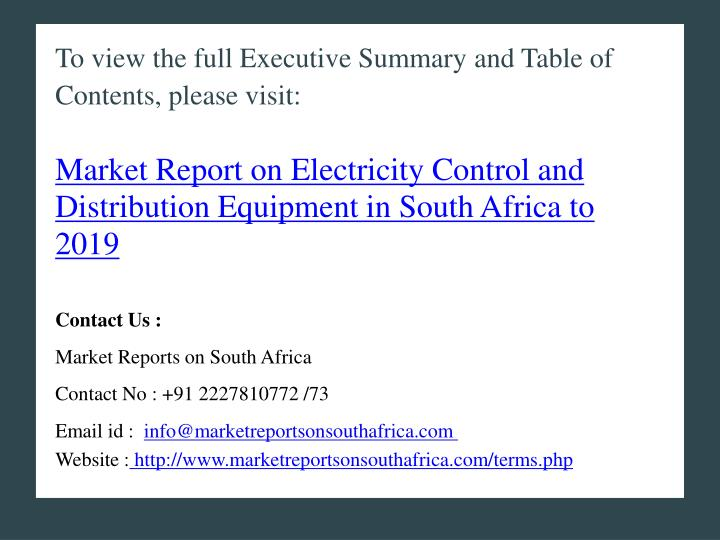 To view the full Executive Summary and Table of Contents, please visit: