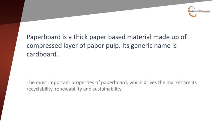 Paperboard is a thick paper based material made up of compressed layer of paper pulp. Its generic name is cardboard.