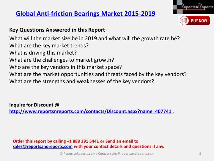 Global Anti-friction Bearings Market 2015-2019