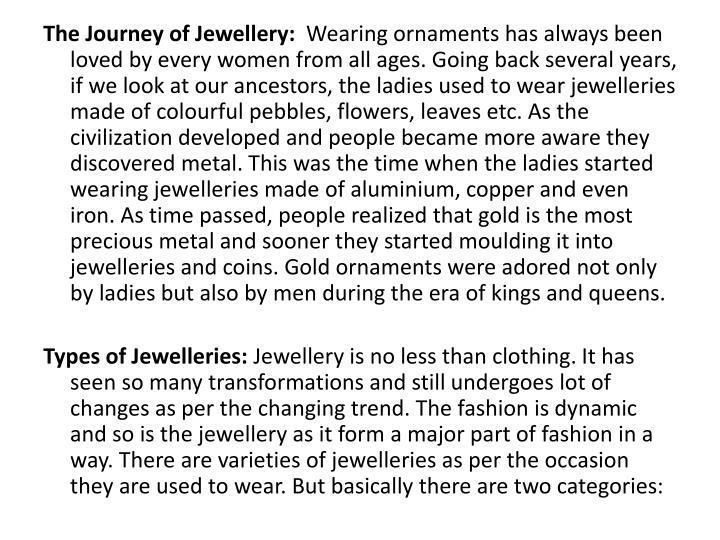 The Journey of Jewellery