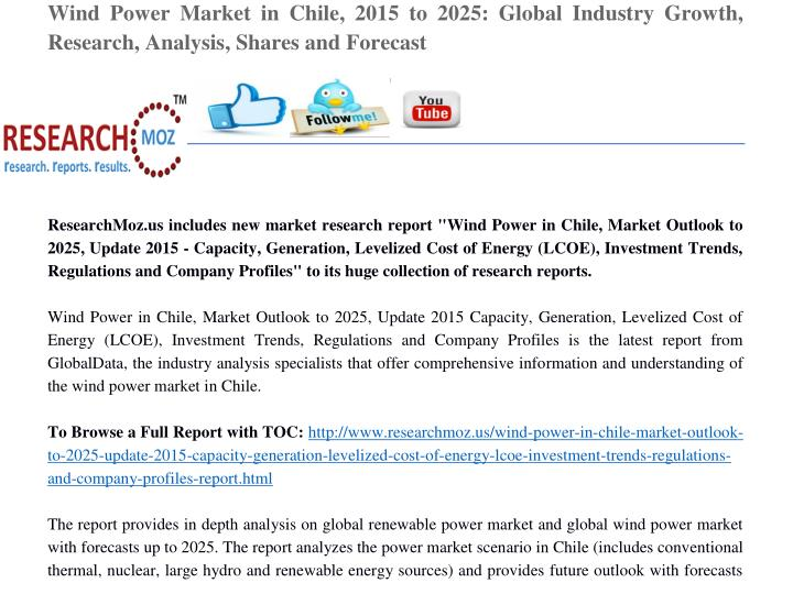 Wind Power Market in Chile, 2015 to 2025: Global Industry Growth,