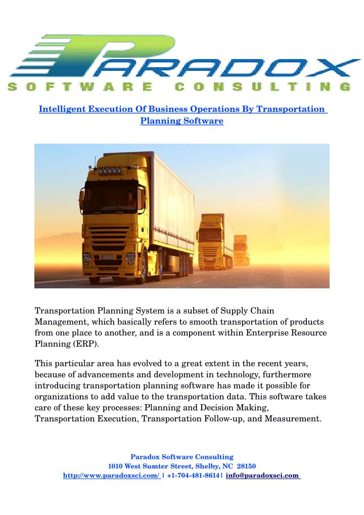 Intelligent Execution Of Business Operations By Transportation