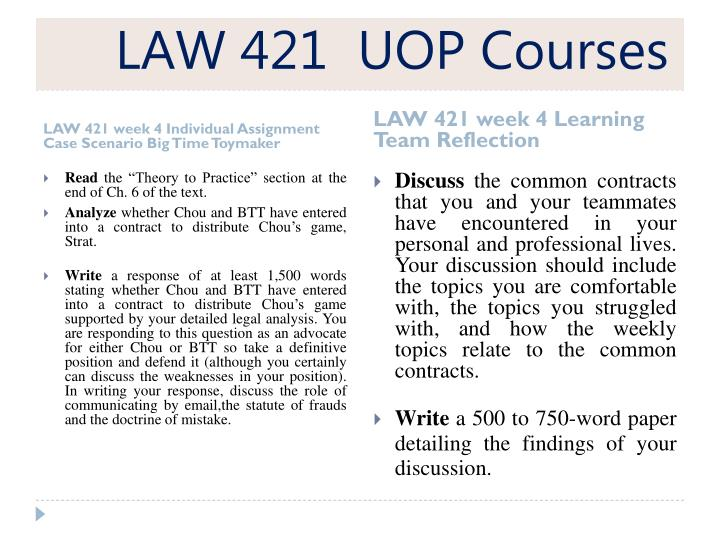 LAW 421  UOP Courses
