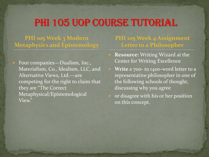 PHI 105 UOP Course Tutorial
