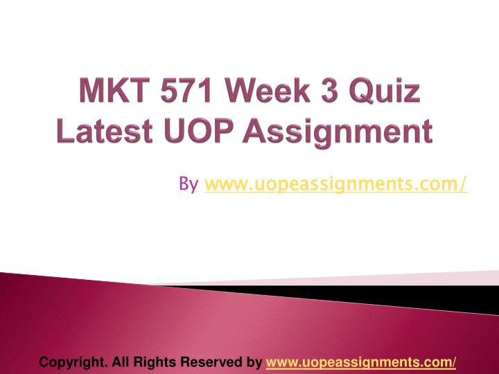 mkt 571 week one quiz