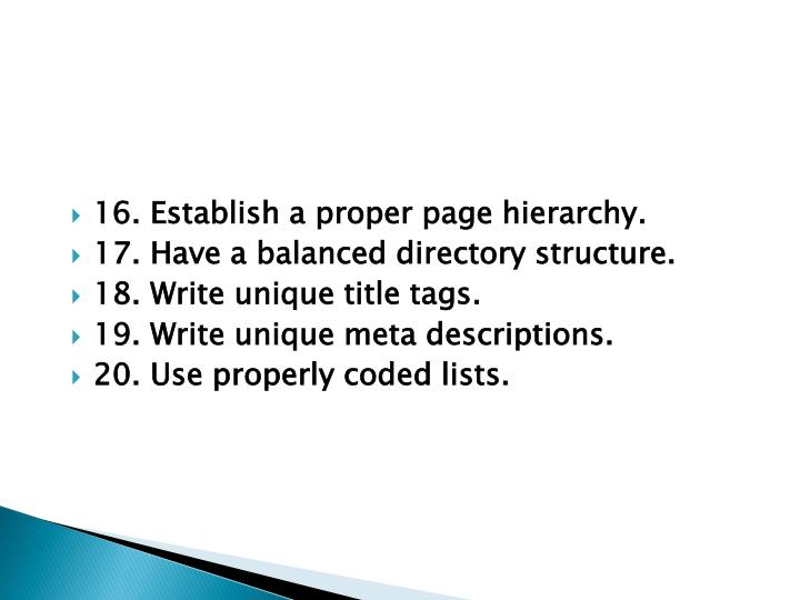 16. Establish a proper page hierarchy