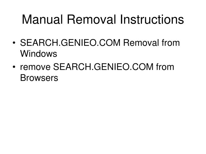 Manual Removal Instructions
