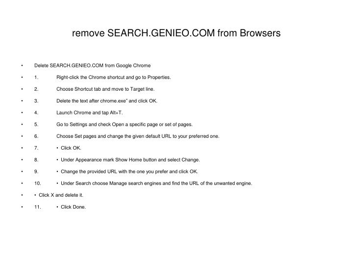 remove SEARCH.GENIEO.COM from Browsers