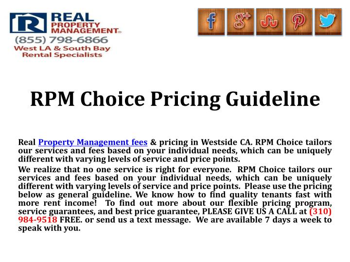 RPM Choice Pricing Guideline