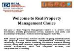 welcome to real property management choice