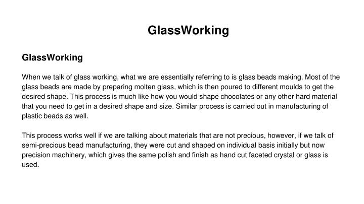 GlassWorking