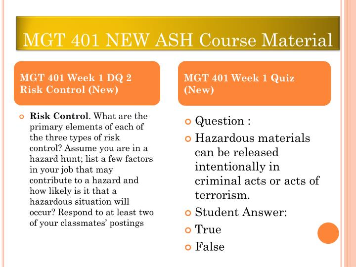 MGT 401 NEW ASH Course Material
